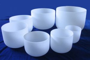 Seven Chakra Set of Large Sized Harmonically tuned Frosted Singing Crystal Bowls