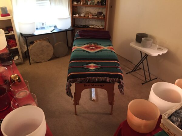Setting for Sound healing with Crystal Singing Bowls
